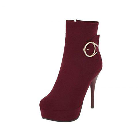 Round Head Waterproof Table with High Heel Sexy Ladies Boots - RED WINE EU 36