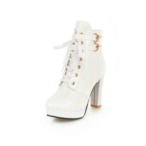 Round Head Waterproof Platform with High Heel Fashion Lace Ankle Boots - WHITE EU 36