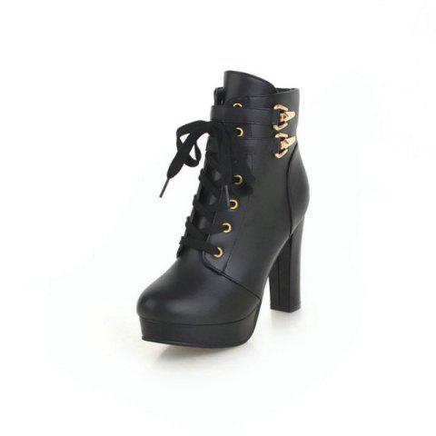 Round Head Waterproof Platform with High Heel Fashion Lace Ankle Boots - BLACK EU 35