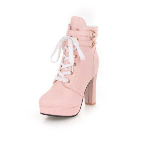 Round Head Waterproof Platform with High Heel Fashion Lace Ankle Boots - PINK EU 34