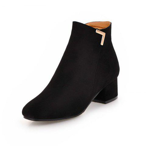 Round Head with Medium and Simple Naked Boots - BLACK EU 34