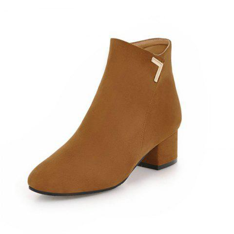 Round Head with Medium and Simple Naked Boots - LIGHT BROWN EU 39