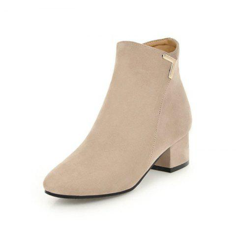 Round Head with Medium and Simple Naked Boots - BEIGE EU 34