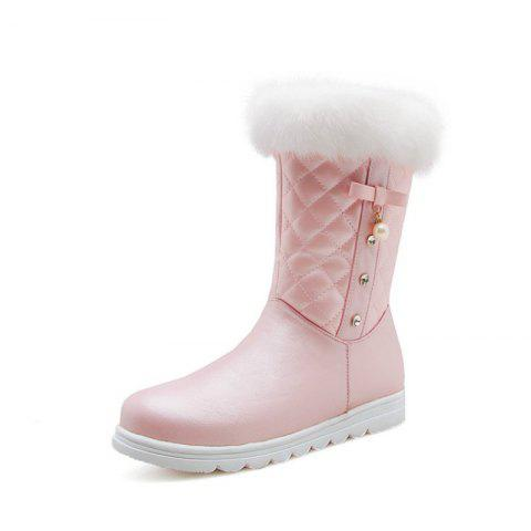 Round Bottomed Thick Bottomed Flat Bottomed Medium Boots - PINK EU 34