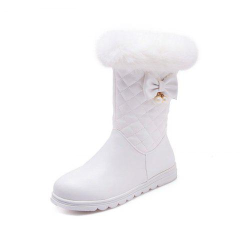 Round Head Thick Bottom Flat Sweet Boots - WHITE EU 35