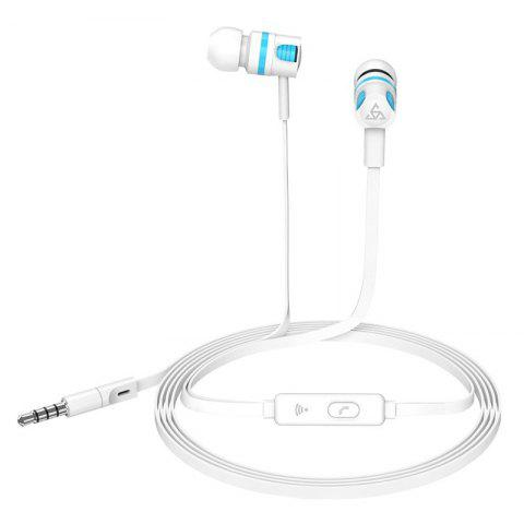 T2 Stereo Headphone Handsfree Headset with Microphone for Samsung Xiaomi - WHITE