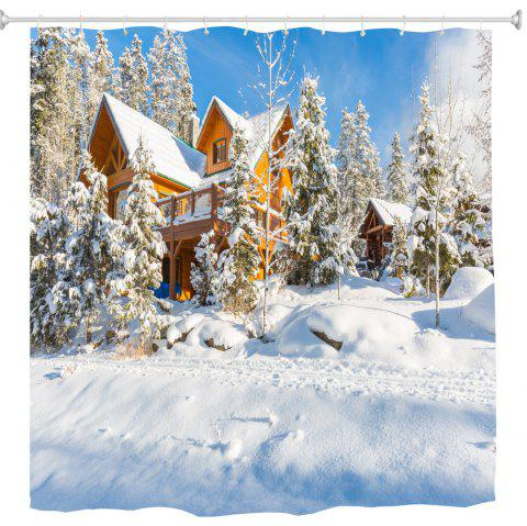 Christmas Tree and House 3D Digital Printing Fabric Waterproof and Mildewproof - multicolor 180X200CM