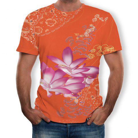 3D Summer Personality Floral Print Mens Short Sleeve T-shirt - multicolor F M