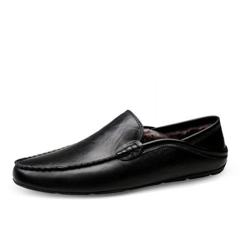 Men'S Casual Shoes Genuine Leather Flats Loafers Footwear - BLACK EU 41