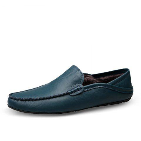 Men'S Casual Shoes Genuine Leather Flats Loafers Footwear - BLUE EU 46