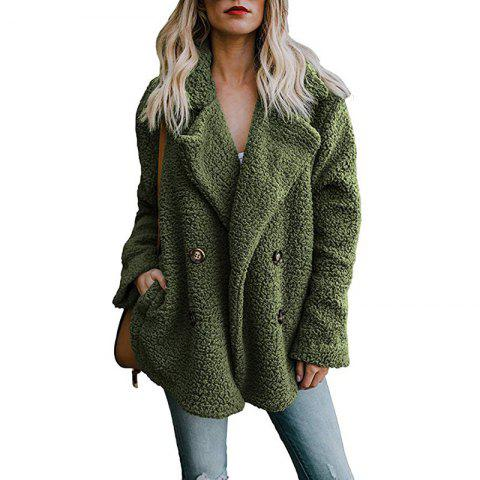 Fashion Button Suit Collar Pocket Blouse Woolen Cotton Coat - ARMY GREEN XL