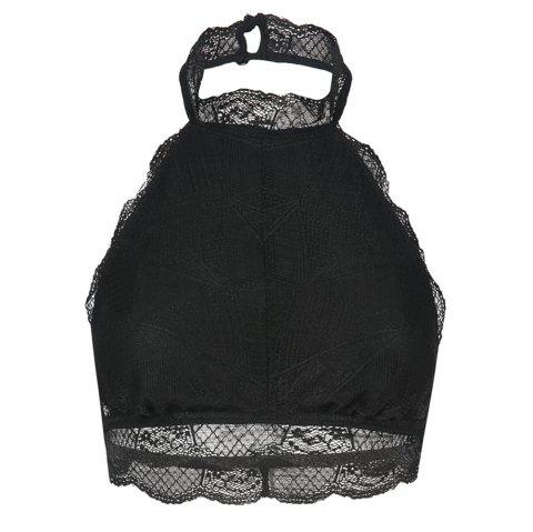 MISSOMO Fashion Sexy Hanging Neck Hollow Backless Irregular Lace Underwear - JET BLACK L