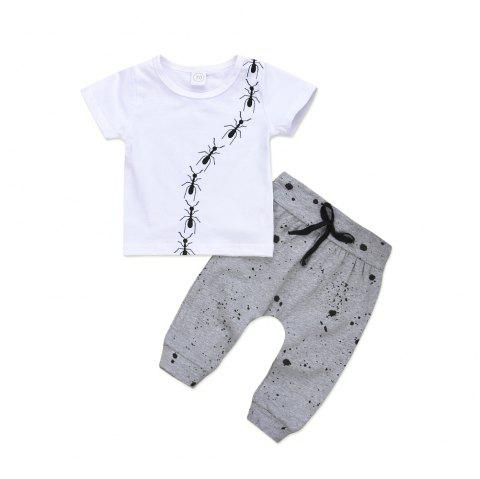 Ant Prints White Jacket and Gray Spotted Trousers Two Piece - WHITE 90