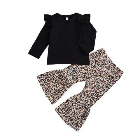 Black Flying Sleeves Long Sleeved  Leopard Trousers - BLACK 120