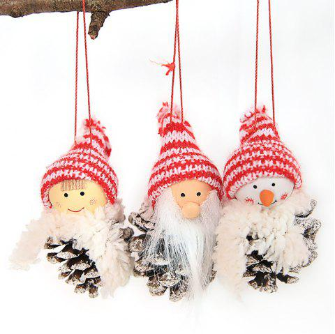 New Christmas Supplies Creative Old Man Doll White Pine Nut Doll Hanging Decorat - multicolor C PACK OF 3