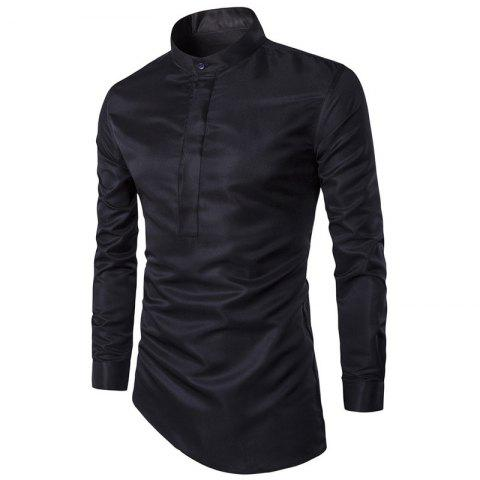 Men'S Shirt Trendy Good Quality Solid Color Gentle Fresh Style Stand Collar Shir - BLACK XL