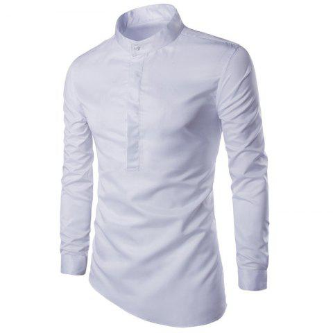 Men'S Shirt Trendy Good Quality Solid Color Gentle Fresh Style Stand Collar Shir - WHITE 2XL