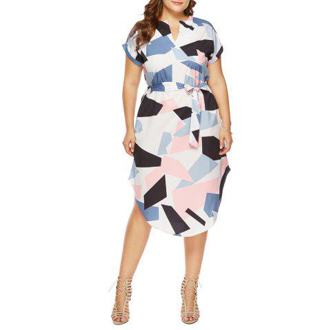 Fashion Casual V-Neck Short-Sleeved Geometric Color Block Printed Loose Dress - WHITE 2XL