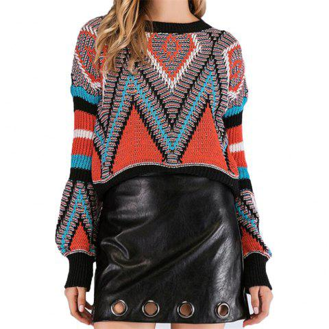 Pull Femme Col Rond À Manches Longues - multicolor A ONE SIZE