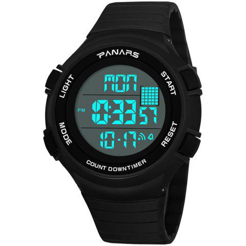PANARS Men Pedometer Digital Sport Running LED Electronic Waterproof Watches - JET BLACK