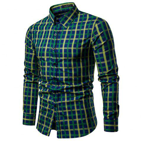 Men's Lapel Slim Fit Plaid Casual Long Sleeve Shirt - multicolor XL