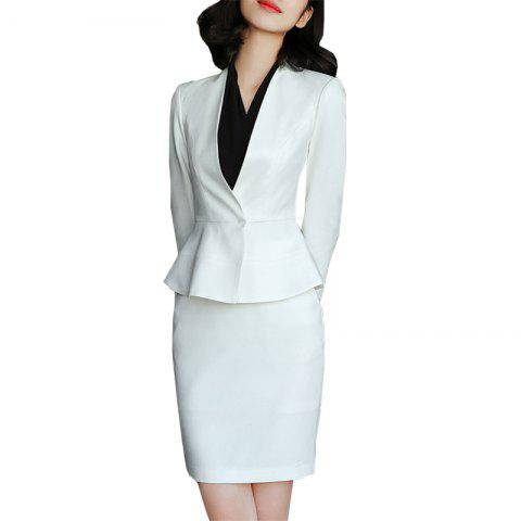 Women's Fashion Temperament Lady Business Model Professional Suit - WHITE 3XL