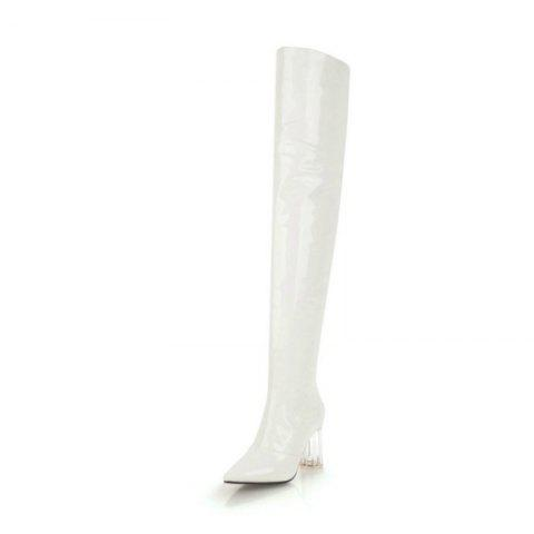 Pointed Thick with High Heel Sexy Patent Leather Over The Knee Boots - WHITE EU 34