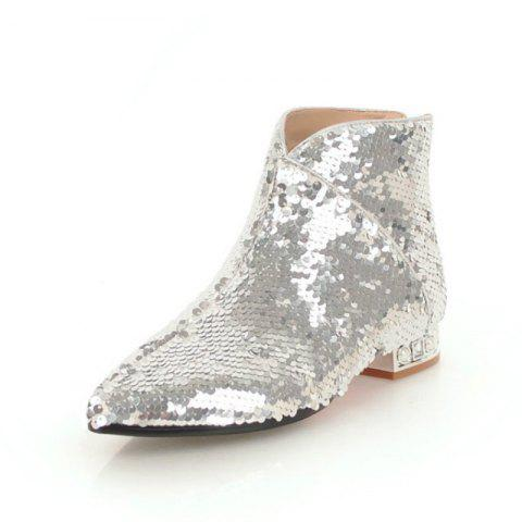Pointed and Thick Low Heeled Sexy Short Boots - SILVER EU 37