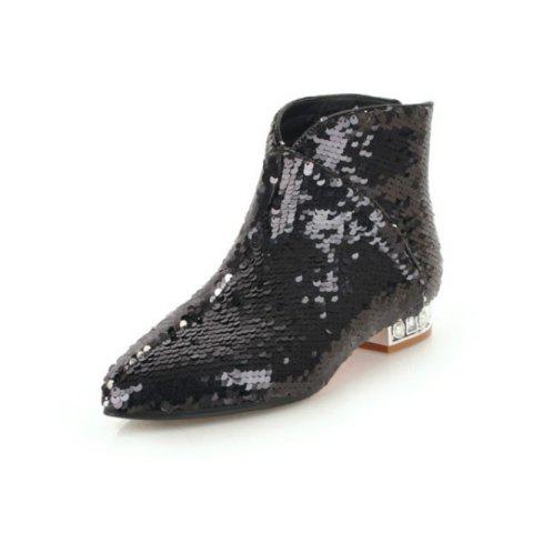 Pointed and Thick Low Heeled Sexy Short Boots - BLACK EU 38