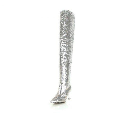 Pointed Stiletto High Heel Sexy Fashion Over The Knee Boots - SILVER EU 37