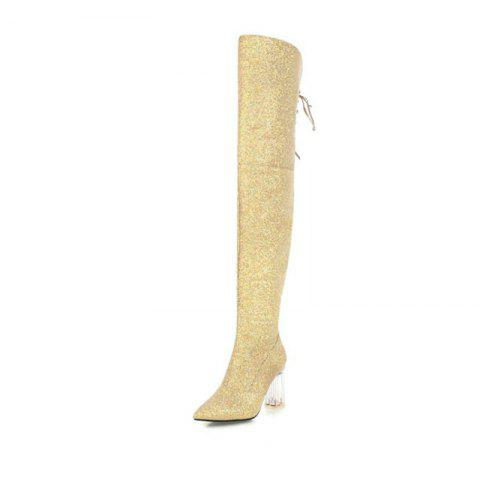 Pointed and Thick and Sexy Knee Boots - GOLD EU 35