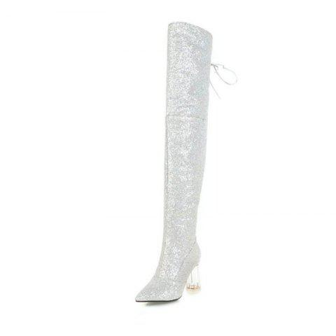 Pointed and Thick and Sexy Knee Boots - SILVER EU 38