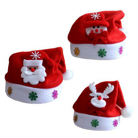 3Pcs New Christmas Hat with Snowman Santa Claus and Deer For Kids and Adults - RED KID SIZE