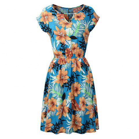 Occident Spring/Summer New Round Neck Printing Floral Dress