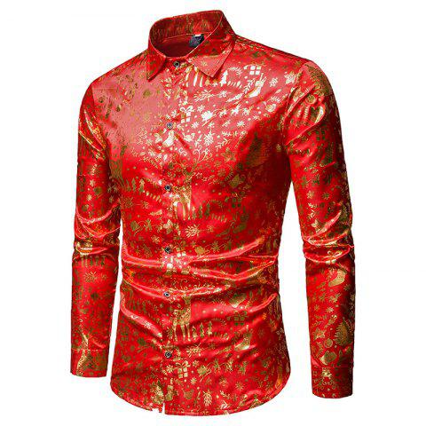 Gold Color Fashion Christmas Long Sleeve Men Shirt - GOLD M