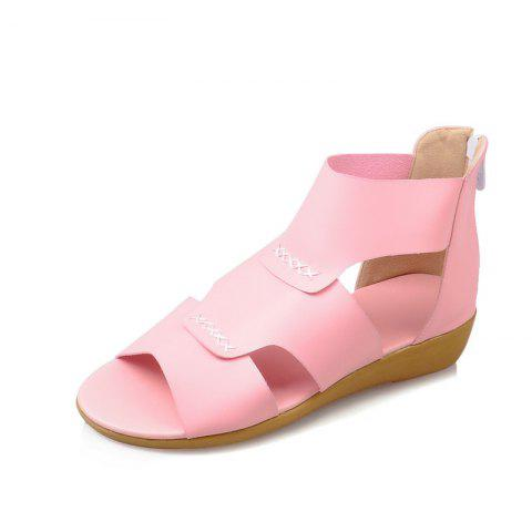 Simple Back Zipper Comfortable Sandals - PIG PINK EU 43
