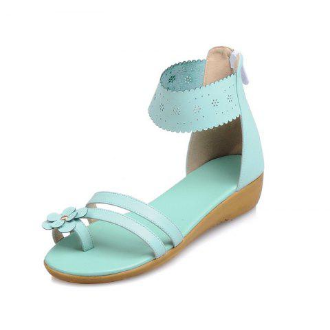 Summertime Cover Toe Flower Zipper Sweet Female Sandal - MEDIUM TURQUOISE EU 39