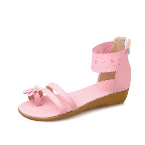 Summertime Cover Toe Flower Zipper Sweet Female Sandal - PIG PINK EU 41