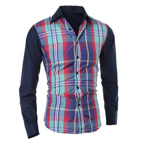 Men's Slim Casual Collar Plaid Panel Long Sleeve Plaid Shirt - GREEN L