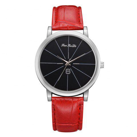 Women Leather Band Luxury Quartz Watch Student Ladies Wrist Watch - RED