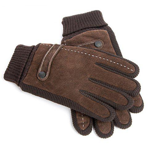 Men's Pigskin Cycling Thickening  Warm Cold Gloves - DEEP COFFEE