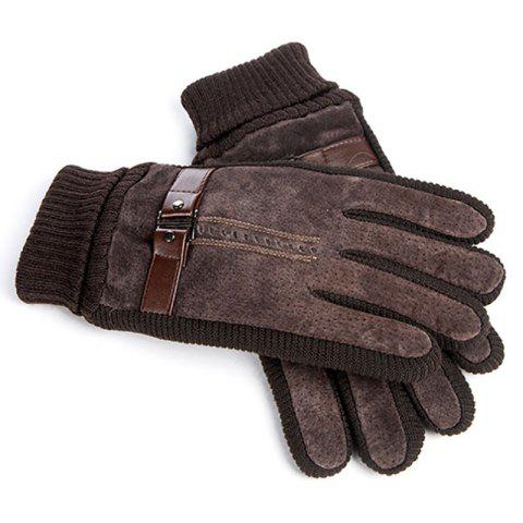 Men's Pigskin Cycling Thickening  Warm Cold Gloves - DEEP BROWN