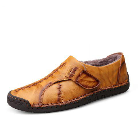 Casual Shoes Men Loafers Genuine Leather Flat - LIGHT BROWN EU 38