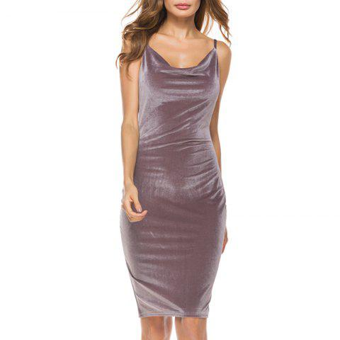 Sexy cultivate One'S Morality Show Thin Skirt with Shoulder-Straps Render Dress - PUCE M
