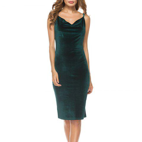Sexy cultivate One'S Morality Show Thin Skirt with Shoulder-Straps Render Dress - MEDIUM SEA GREEN XL