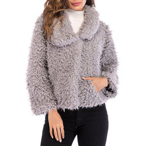 Women'S Wear Collar and Long Sleeved Plush Coat in Autumn and Winter - GRAY 2XL