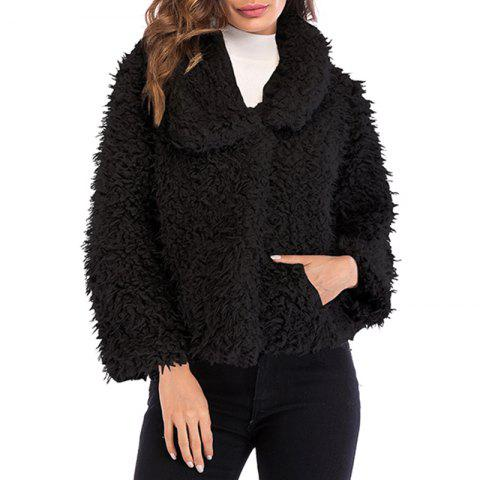 Women'S Wear Collar and Long Sleeved Plush Coat in Autumn and Winter - BLACK 2XL