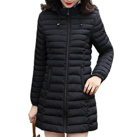Hooded Woman Winter Jacket Women'S Coat Plus Size 5XL Padded Long Parka - BLACK 4XL