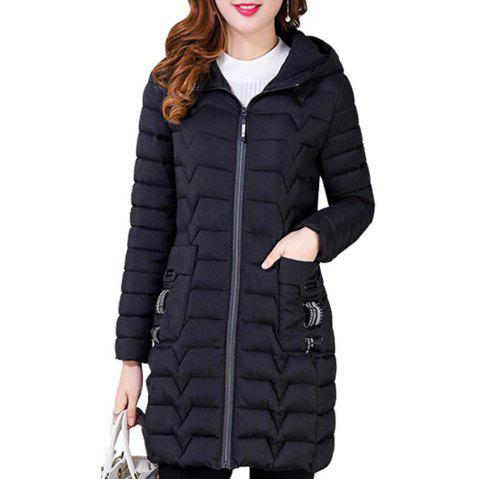 Plus Size Middle Long Cotton-padded Jackets - BLACK 6XL
