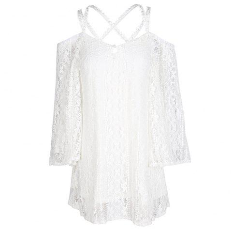 HAODUOYI Women's Sweet Lace Sexy Off-Shoulder Dress White - WHITE M